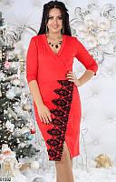 Платье женское демисезонное нарядное замш+кружево макраме 48,50,52,54 размеров,цвет красный