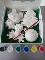 Новогодний набор гипсовых фигурок для творчества. Різдвяний набір гіпсових фігурок для творчості №85