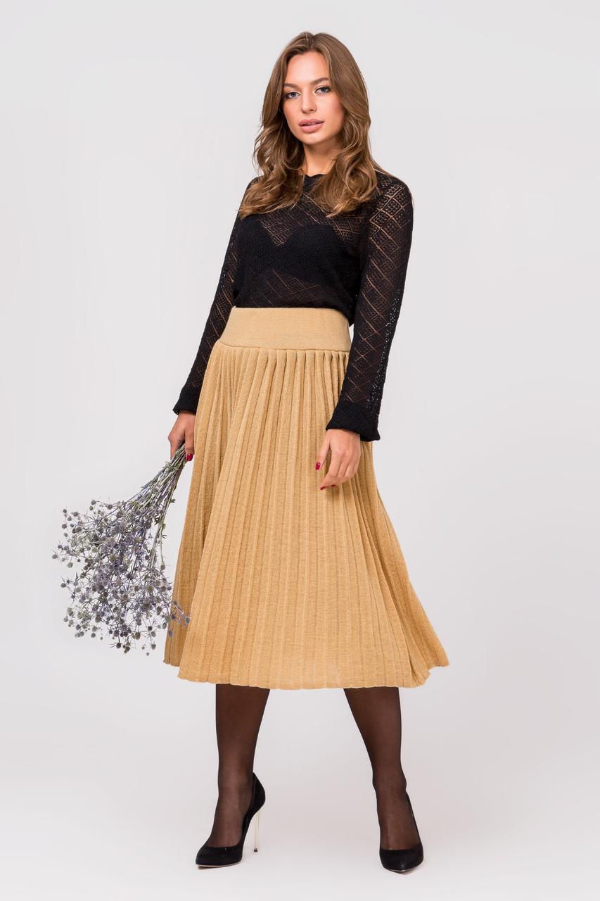 Модная вязанная плиссированная юбка миди (светлый янтарь)(44-48)