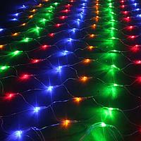 Гирлянда Сетка LED 120 лампочек Мульти, 160х160 см, прозрачный провод, переходник (1-49)
