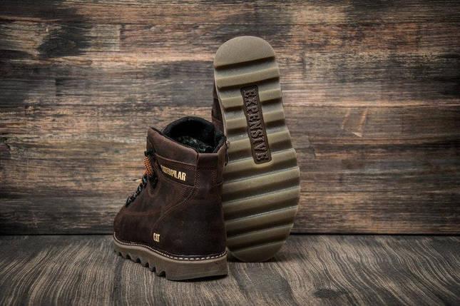 Мужские зимние кожаные ботинки в стиле CAT Expensive Chocolate, фото 2