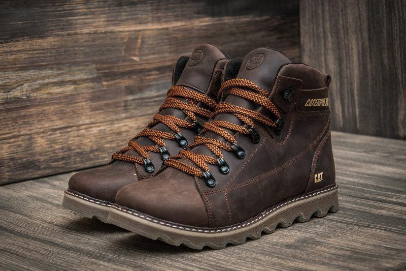Мужские зимние кожаные ботинки в стиле CAT Expensive Chocolate