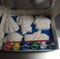 Новогодний набор гипсовых фигурок для творчества. Різдвяний набір гіпсових фігурок для творчості №86