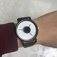 Женские наручные часы искусственная кожа черные с белым циферблатом