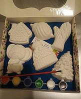 Новогодний набор гипсовых фигурок для творчества. Різдвяний набір гіпсових фігурок для творчості №87