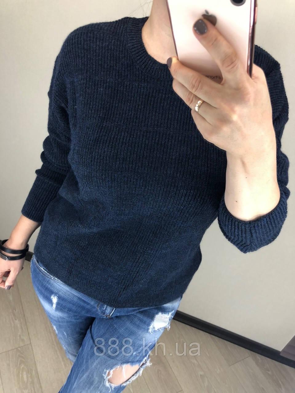 Стильный теплый шерстяной женский свитер  (вязка)