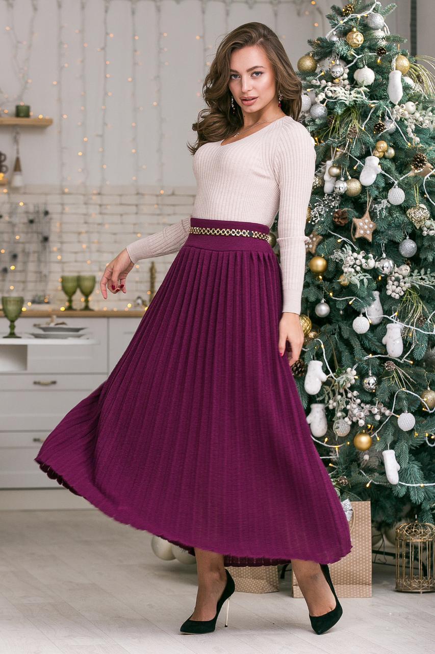 Модная вязанная плиссированная юбка макси ( темная фуксия)(44-48)