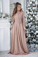 КР23338 Женское платье в пол с кружевным болеро, фото 1