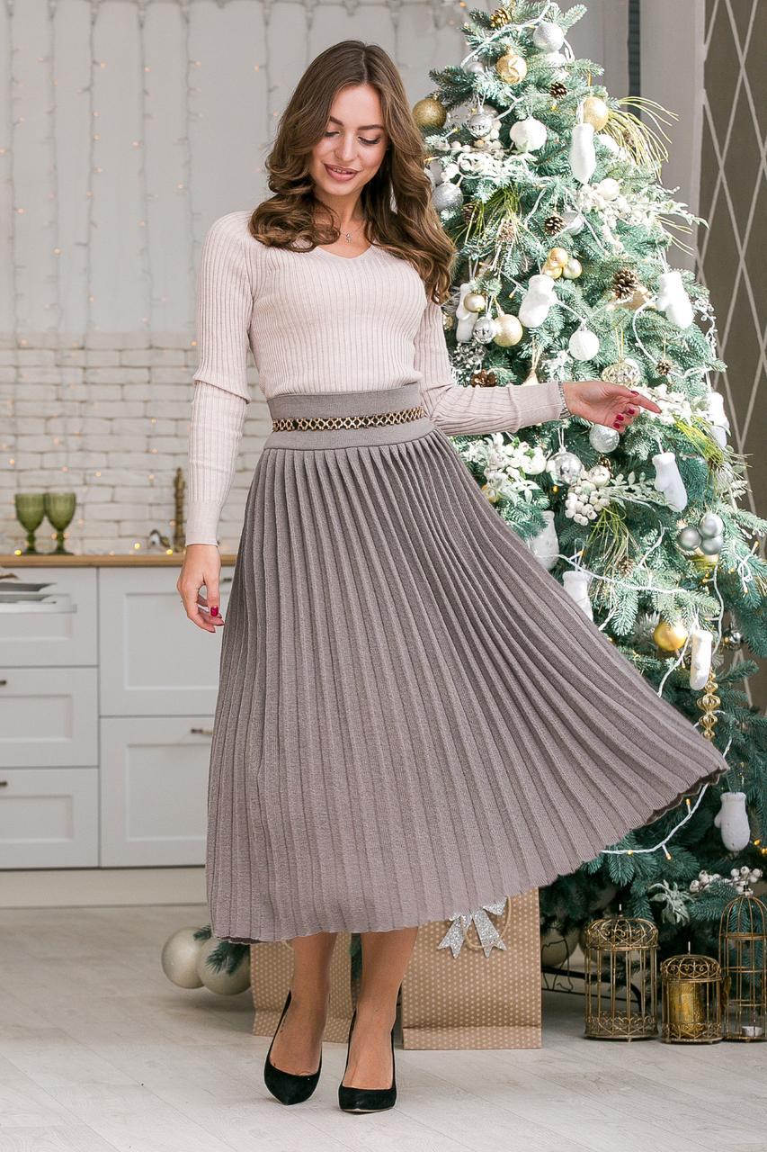 Модная вязанная плиссированная юбка макси ( капучино)(44-48)