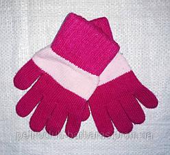 Перчатки для девочки Laura шерстяные фиолетовые с розовой полоской (MargotBis, Польша)