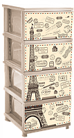 """Комод з малюнком Париж кремовий 4 ящика """"Алеана"""" + Відео"""