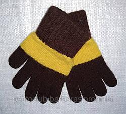 Перчатки для девочки Laura шерстяные коричневые с желтой полоской (MargotBis, Польша)