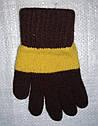 Перчатки для девочки Laura шерстяные коричневые с желтой полоской (MargotBis, Польша), фото 2