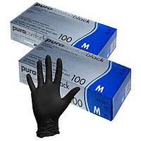 Одноразовые Перчатки Нитриловые черные размер S M L без пудры нестерильные для шугаринга100 шт/уп M