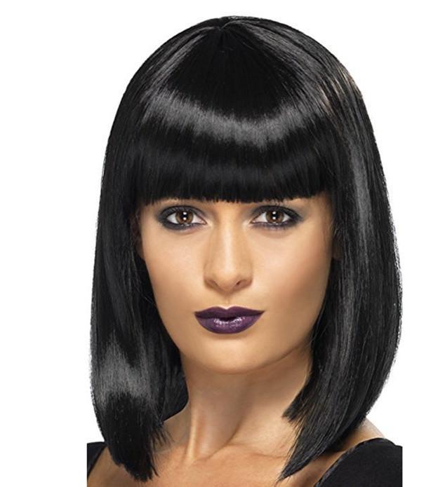 Парик с термо волос удлиненное каре цвет чёрный
