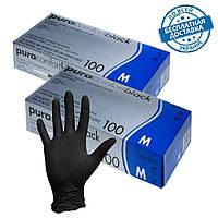 Одноразовые нитриловые перчатки  Черные S, M, L неопудренные, нестерильные, смотровые,100 шт/уп