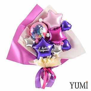 Букет из мини-фигур с кругом Happy Birthday и фиолетовой звездой с надписью, фото 2