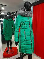 Зимова тепла жіноча куртка на силіконі, з капюшоном, знімне еко-хутро, від виробника, розміри 42-48