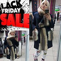 Зимнее пальто из шерсти с мехом чернобурки в наличии 44,46 размер