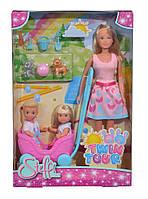 """Кукольный набор Штеффи, Эви и Тимми """"Прогулка двойняшек"""" с воспитанниками и аксессуарами, Simba, 5733229"""