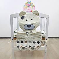 Органайзер на кроватку мишка Тедди в молочных тонах на 5 карманов