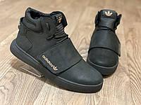 Adidas tubular зимние мужские ботинки, чёрные, размеры 40-45