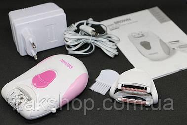Эпилятор для удаления волос Brown BR-3027 2 в 1 с массажной насадкой