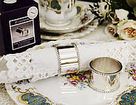 Набор из двух изящных колец для салфеток, серебрение, Англия, винтаж в состоянии новых, фото 1