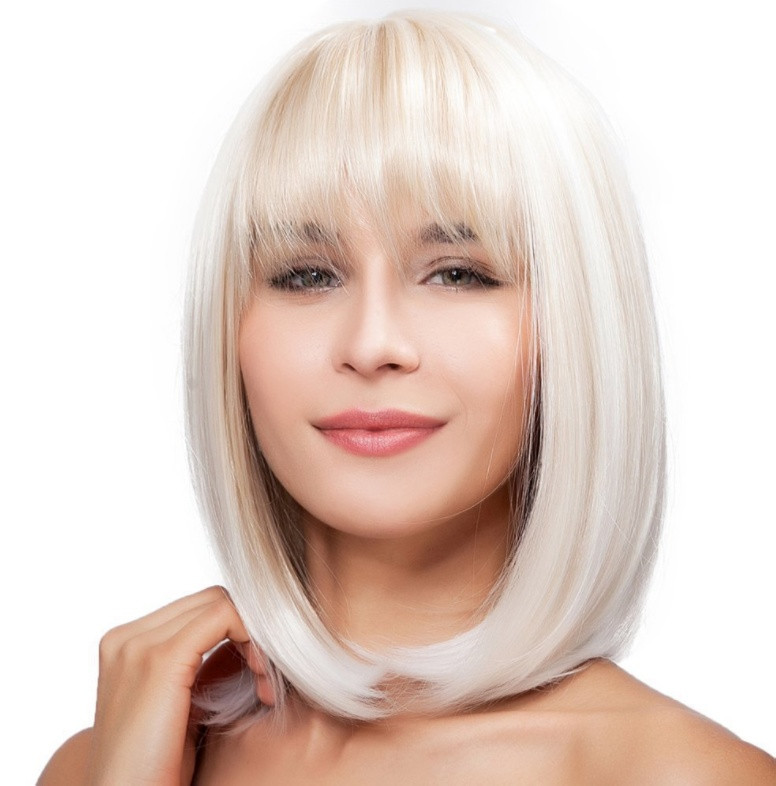 Парик удлиненное каре с чёлкой блонд