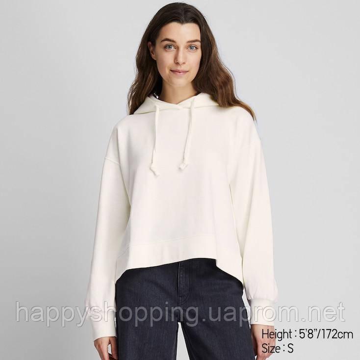 Женская хлопковая укороченная белая худи Uniqlo (Размеры - ХS,S)