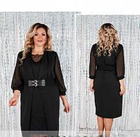 / Размер 50,52,54,56,58,60,62,64 / Женское нарядное платье батал с кардиганом 087СБ-Черный