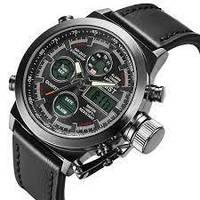 Мужские Наручные армейские часы AMST Sport Black Watch Кварцевые Quartz черные