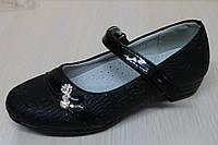 Туфли на девочку черные, школьная детская обувь тм KLF р.27,28