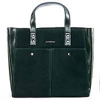 Новинка! Женская сумка из натуральной замши зеленого цвета классика, фото 1