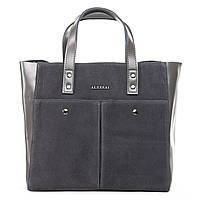 Новинка! Женская сумка из натуральной замши серого цвета классика, фото 1