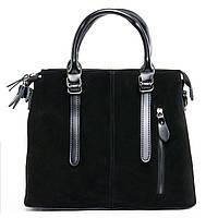 Новинка! Женская сумка из натуральной замши черного цвета классика, фото 1