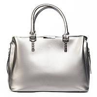 Женская сумка из натуральной кожи серебристого цвета классика, фото 1