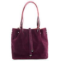 Женская сумка из натуральной кожи и замши бордового цвета классика, фото 1