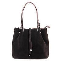 Женская сумка из натуральной кожи и замши классика коричневого цвета, фото 1