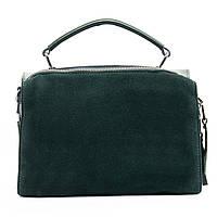ОСТАЛАСЬ 1 ШТ. Женская сумка из натуральной кожи и замши классика зеленого цвета, фото 1