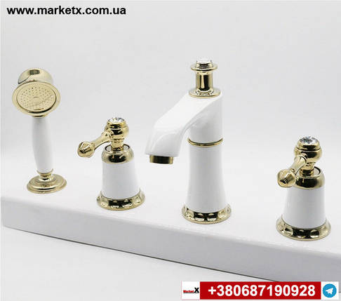 Виразний змішувач на борт ванни на 4 отвори Білий - золото., фото 2