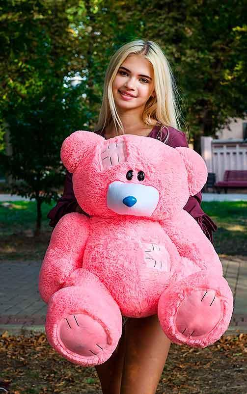 Плюшевый Мишка 90см .Большой  Мишка игрушка Плюшевый медведь Мягкие мишки игрушки Ведмедик (Розовый)