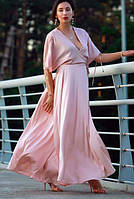 Платье Летняя роза (на запах, шелковое, светло-розовое), размер L, Garna