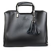 Женская молодежная сумка из натуральной кожи черного цвета, фото 1