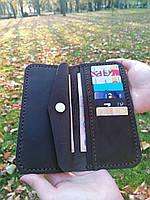 Коричневый кожаный кошелек из натуральной кожи ручной работы Revier с отделом для мелочи