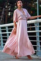 Платье Летняя роза (на запах, шелковое, светло-розовое), размер S, Garna
