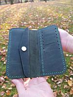 Зеленый кожаный кошелек из натуральной кожи ручной работы Revier с отделом для мелочи, фото 1