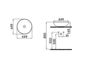Round Умывальник белый 45*45 (0101-9456) IDEVIT, фото 2