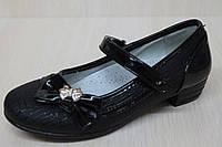 Туфли на девочку черные, школьная детская обувь тм KLF р.26,27,28,29
