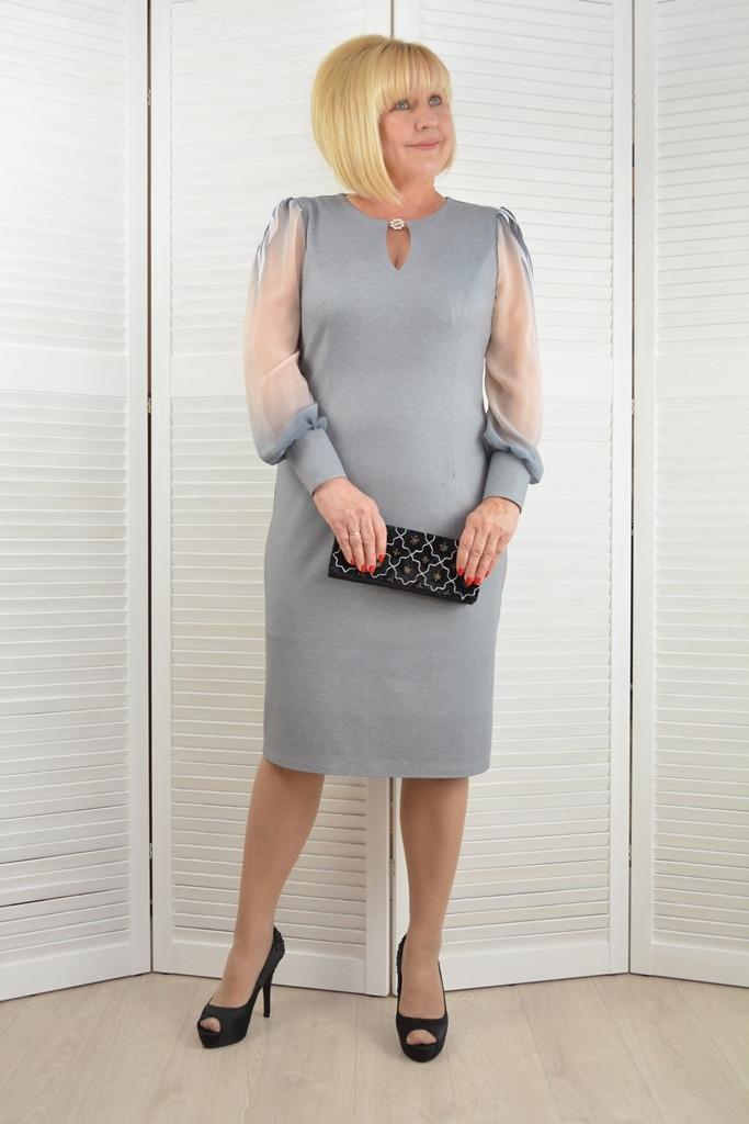 Платье Артемида серое - Модель 1442-13 ( 48,52,54,56 размеры )